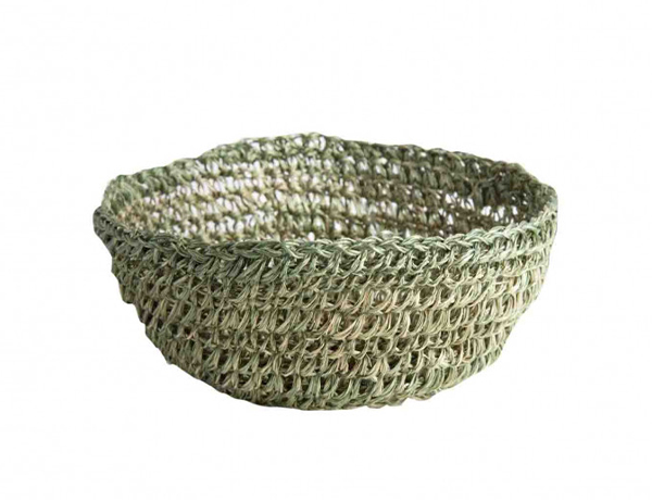 GREEN ABACA CROCHET BOWL D. 18 H 7 CM
