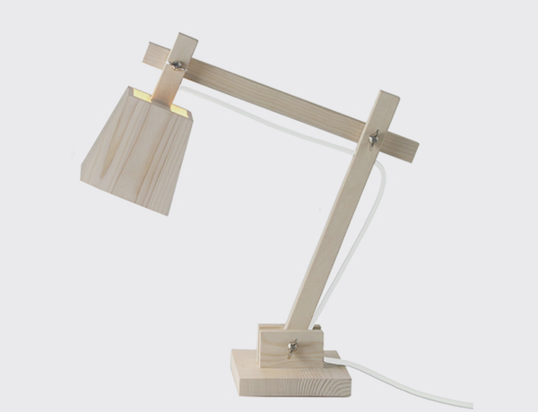 Wood lamp white cord
